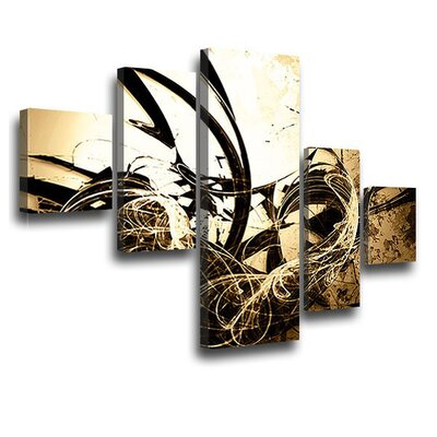 LanaKK Wild Graph 5 Piece Graphic Art on Canvas Set