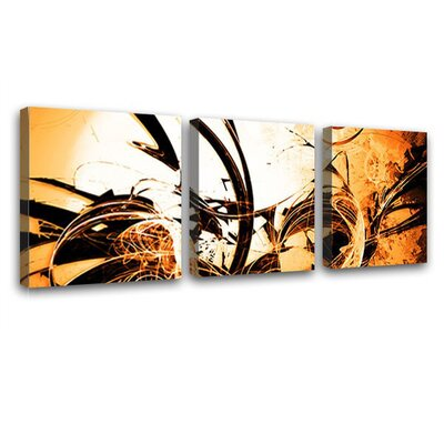 LanaKK Wild Graph 3 Piece Graphic Art on Canvas Set