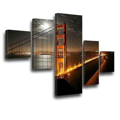 LanaKK Golden Gate Bridge 5 Piece Photographic Print on Canvas Set