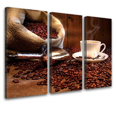 LanaKK Coffee Beans 3 Piece Photographic Print on Canvas Set