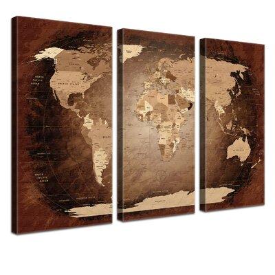LanaKK World Map with Cork Back 3 Piece Graphic Art on Canvas
