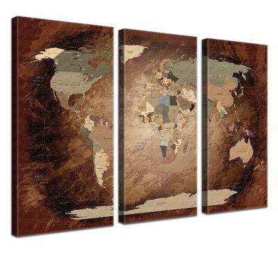 LanaKK World Map with Cork Back 3 Piece Graphic Art on Canvas Set