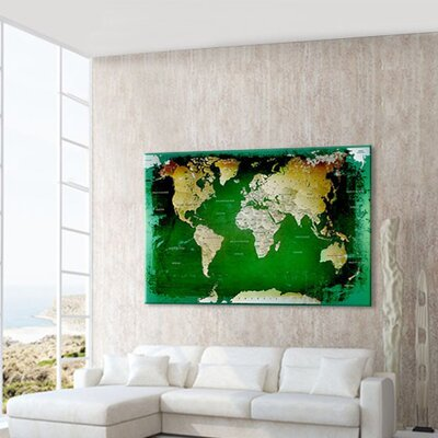 LanaKK World Map with Cork Back Graphic Art on Canvas