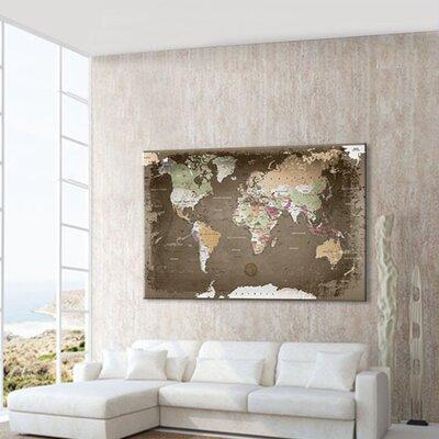 LanaKK World Map Used with Cork Back Graphic Art on Canvas