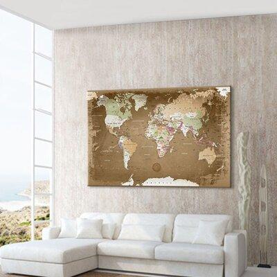 LanaKK World Map with Cork Back Graphic Art on Canvas