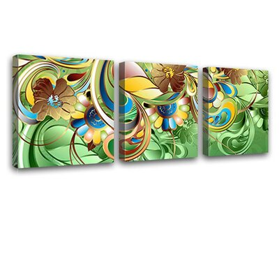 LanaKK Curvature 3 Piece Graphic Art on Canvas Set