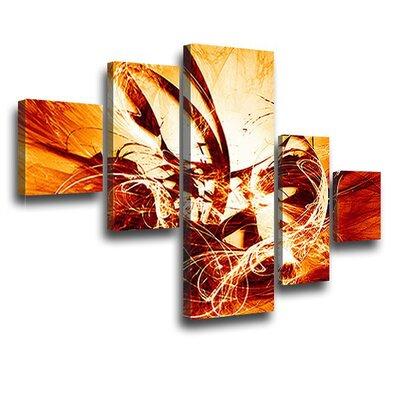 LanaKK Graph Fire 5 Piece Graphic Art on Canvas Set