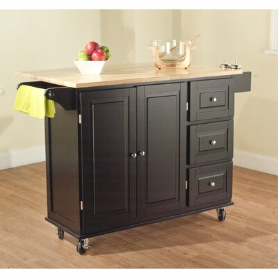 Mobile Kitchen Island Cart, Black