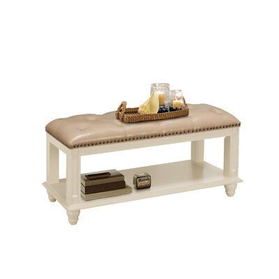 Daley Leather Storage Bench Color: beige