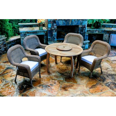 Fleischmann 5 Piece Dining Set with Cushions Fabric: Rave Spearmint, Wicker Finish: Mojave