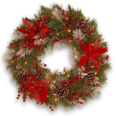 Tewkesbury Tartan Plaid Wreath with 50 White LED Lights