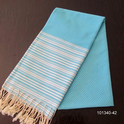 Hudgens Honey Comb 100% Cotton Bath Towel Color: Turquoise / White