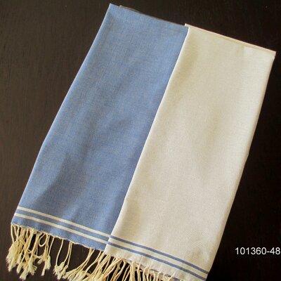 Hudgens Split 100% Cotton Bath Towel Color: Blue Jeans / White