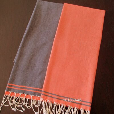 Hudgens Split 100% Cotton Bath Towel Color: Navy / Orange