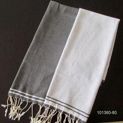 Hudgens Split 100% Cotton Bath Towel Color: White / Black