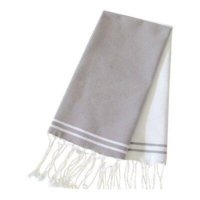 Hudgens Split 100% Cotton Bath Towel (Set of 2) Color: White / Mink