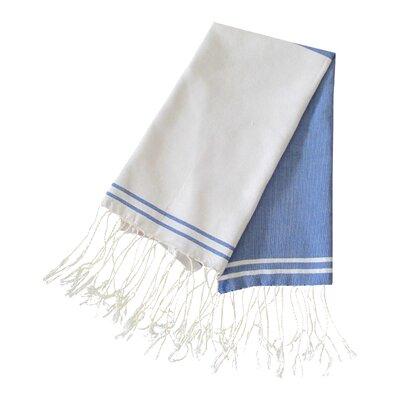 Hudgens Split 100% Cotton Bath Towel (Set of 2) Color: Blue Jeans / White