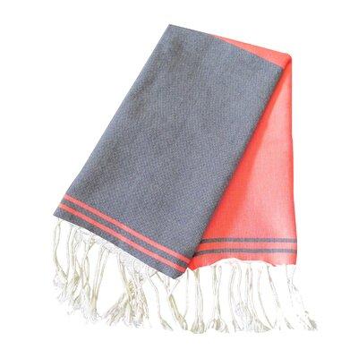 Hudgens Split 100% Cotton Bath Towel (Set of 2) Color: Navy / Orange