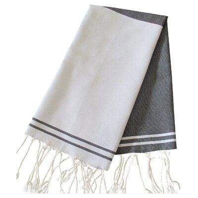 Hudgens Split 100% Cotton Bath Towel (Set of 2) Color: White / Black