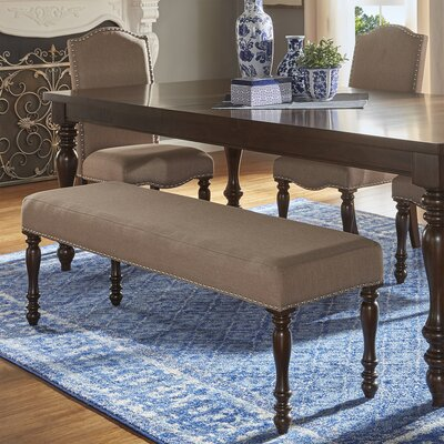 Hilliard Wood Bench Upholstery Type- Color: Linen- Beige
