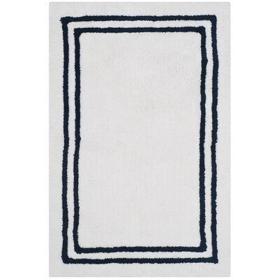 Lockheart Stripes Plush Bath Rug Color: Navy