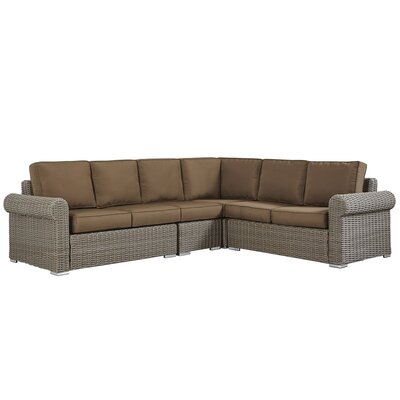 Rathdowney Sectional with Cushions Fabric: Brown, Finish: Charcoal