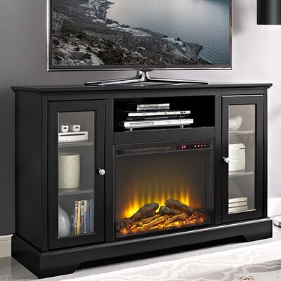 """Rita 52"""" TV Stand with Fireplace Finish: Black"""