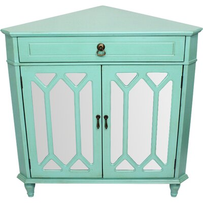 Hannah Wooden Corner Accent Cabinet Color: Green