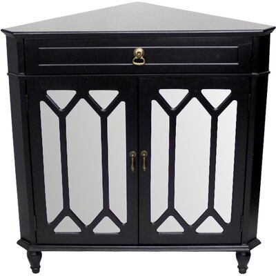 Hannah Wooden Corner Accent Cabinet Color: Black