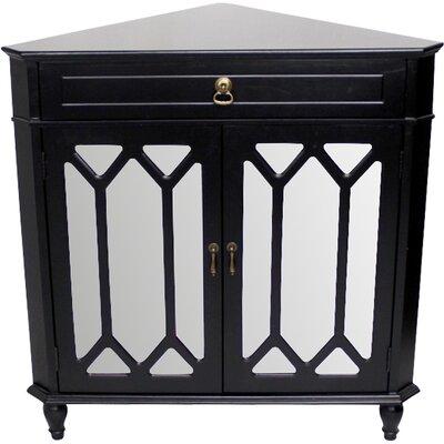 Hannah Wooden Corner Accent Cabinet Color: Black