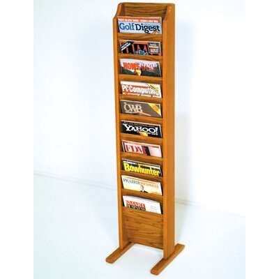 Delia 10 Pocket Free Standing Magazine Rack Wood Color: Medium Oak