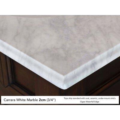 "Bedrock 36"" Single Warm Cherry Bathroom Vanity Set Top Finish: Carrera White Marble Top"