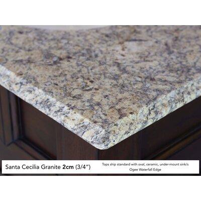 """Bedrock 36"""" Single Warm Cherry Bathroom Vanity Set Top Finish: Santa Cecilia Granite Top"""