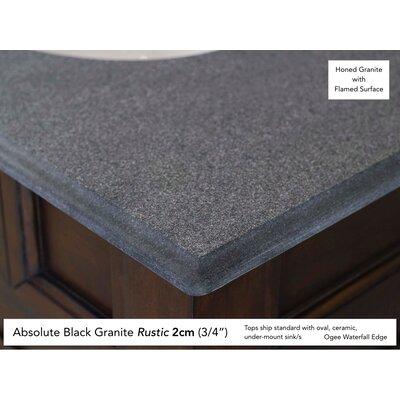 "Bedrock 36"" Single Warm Cherry Bathroom Vanity Set with Drawers Top Finish: Absolute Black Rustic Granite Top"