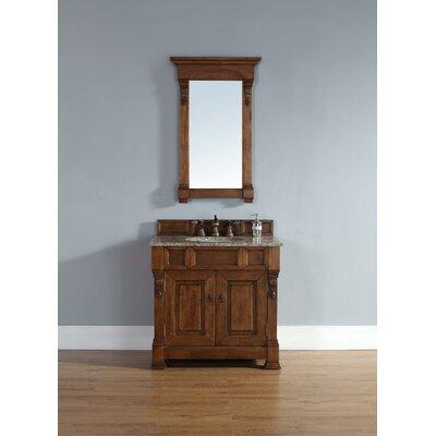 "Bedrock 36"" Single Country Oak Bathroom Vanity Set Top Finish: Galala Beige Marble Top"