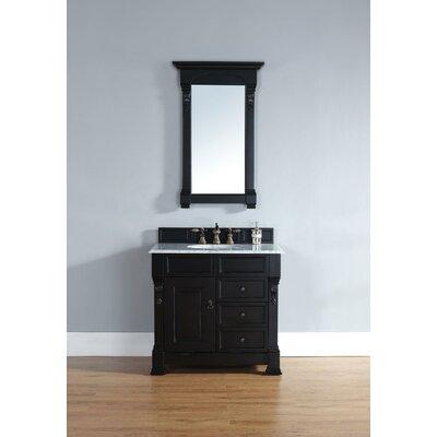 "Bedrock 36"" Single Bathroom Vanity Set with Drawers Top Finish: Absolute Black Rustic Granite Top, Base Finish: Black"