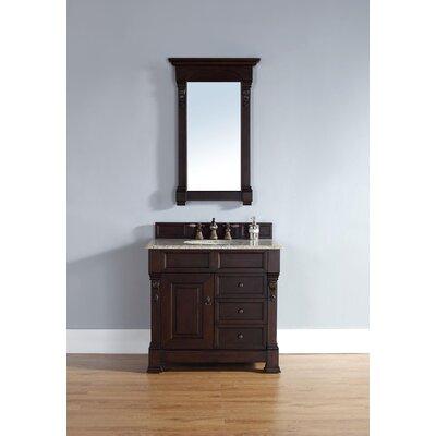 "Bedrock 36"" Single Burnished Mahogany Bathroom Vanity Set with Drawers Top Finish: Absolute Black Rustic Granite Top"