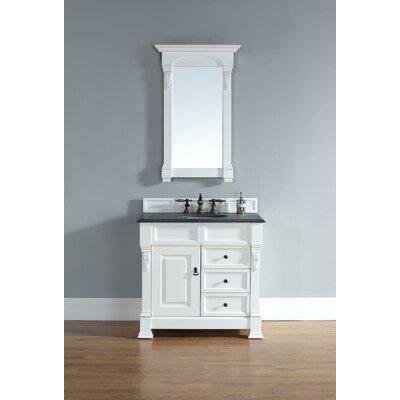 "Bedrock 36"" Single Cottage White Bathroom Vanity Set with Drawers Top Finish: Absolute Black Rustic Granite Top"