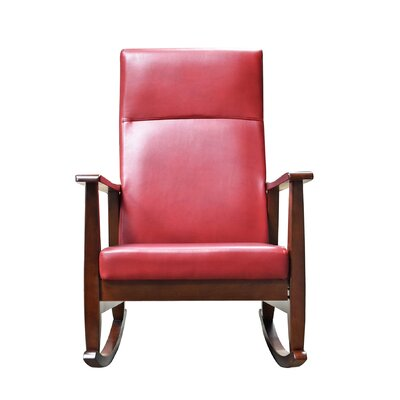Harland Rocking Chair Fabric: Rustic Red, Color: Walnut