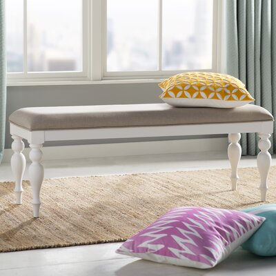 Fincham Upholstered Bench Color: White