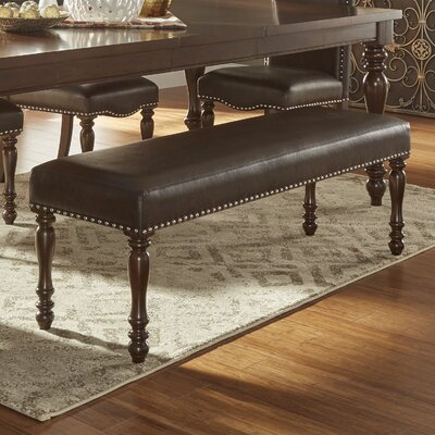 Hilliard Wood Bench Upholstery Type- Color: Faux Leather- Espresso