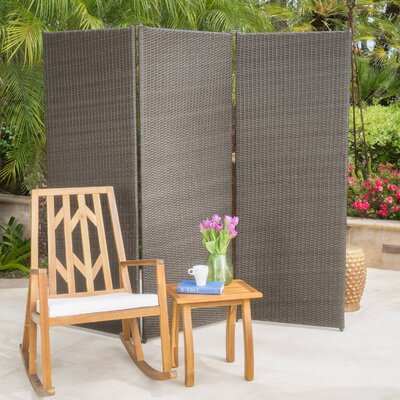 Abdul Outdoor 3 Panel Room Divider Finish: Light Ash Brown