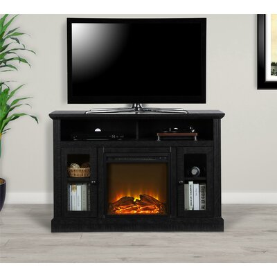 """Rosier 47"""" TV Stand with Electric Fireplace Finish: Black"""