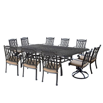 """Otsego 11 Piece Aluminum Dining Set with Cushions Table Size: 29"""" H x 46.5"""" W x 102.5"""" D"""