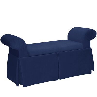 Queen Anne Upholstered Storage Bench Color: Navy