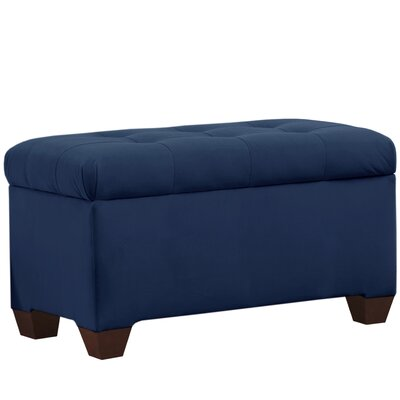 Velvet Upholstered Storage Bench Color: Navy