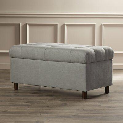 Henrietta Tufted Linen Storage Bench Color: Grey