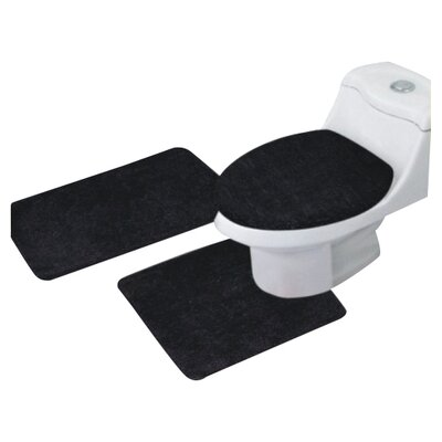 Arata 3 Piece Bath Mat Set Color: Black