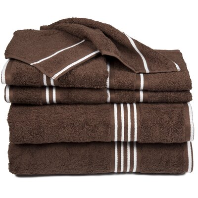 8 Piece Egyptian-Quality Cotton Towel Set Color: Chocolate