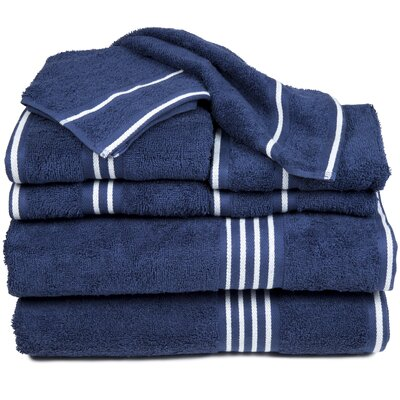 8 Piece Egyptian-Quality Cotton Towel Set Color: Navy